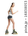 young pretty woman on roller skates 16838053