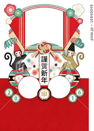 2016年申年完成年賀状テンプレート「おめでたい鞠乗り猿謹賀新年」写真フレーム年賀状赤系 16840049