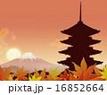 夕暮れ 五重塔 富士山のイラスト 16852664