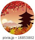 赤富士 夕暮れ 五重塔のイラスト 16853802