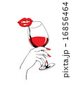 Calm red lips and glass of wine holding hand 16856464