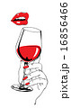 Talking red lips and glass of wine holding hand 16856466