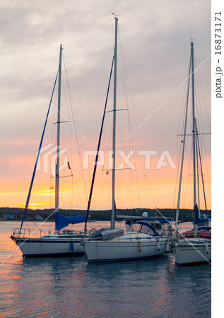 Sunset with Sailboats Vertical 16873171