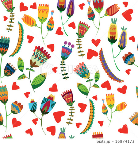 Floral cute seamless pattern.のイラスト素材 [16874173] - PIXTA