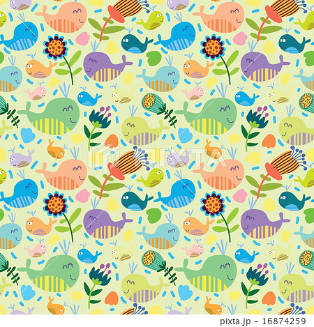 Cute seamless pattern with whalesのイラスト素材 [16874259] - PIXTA