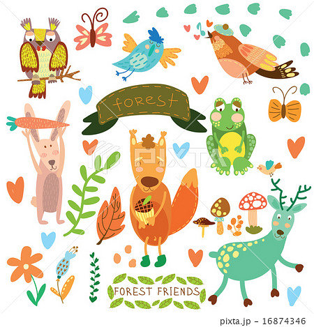 Vector Set Of Cute Woodland And Forest Animalsのイラスト素材