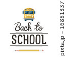 Back to school message with school bus icon vector 16881337