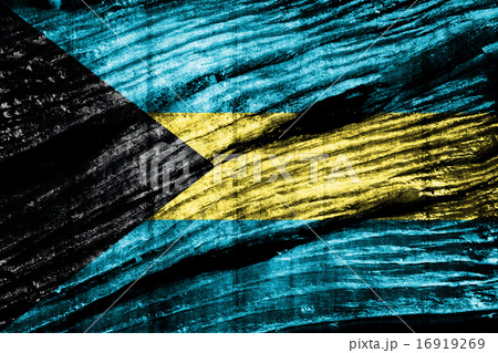 Bahamas Flag on woodの写真素材 [16919269] - PIXTA
