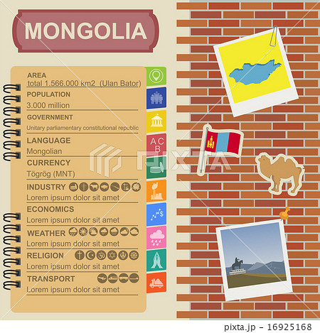 mongolia infographics statistical data sightsのイラスト素材