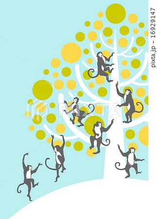 木に登るサルのイラスト素材 16929147 Pixta