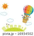 気球 家族 街並み 16934502