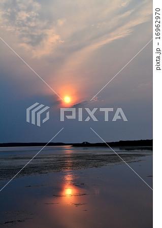 湖面に映る夕日 16962970