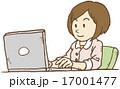インターネット ノートパソコン ビジネスウーマンのイラスト 17001477