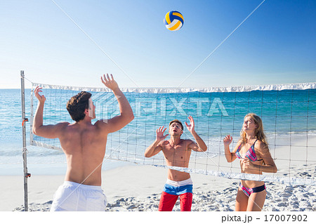Group of friends playing volleyball 17007902