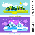Abstract outdoor summer and winter landscape. Trees nature signs, mountains, river or lake, sun 17042896