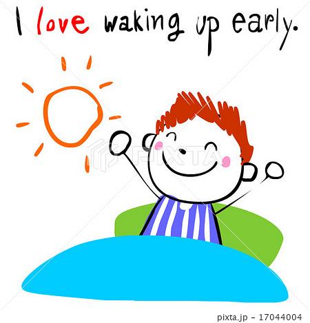 boy love waking up early vecto...