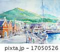 函館の港町の水彩画 17050526
