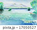大沼国定公園と駒ヶ岳の水彩画 北海道のスケッチ じゅんさい湖 17050527
