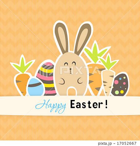 Easter colorful orange postcard carrots and rabbitのイラスト素材 [17052667] - PIXTA