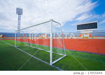 football field with goal and tablo on blue sky の写真素材 17055044