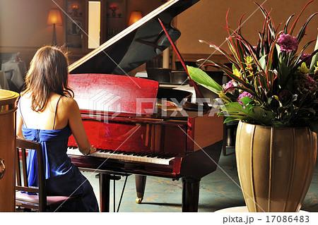 グランドピアノを弾く女性の後ろ姿 17086483
