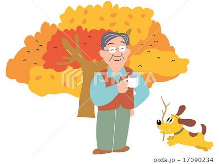 秋のキャンプでコーヒーカップを持つお父さんと薪を集める犬のイラスト