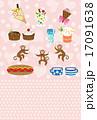 スイーツとさるのピンクのイラストポストカード 17091638