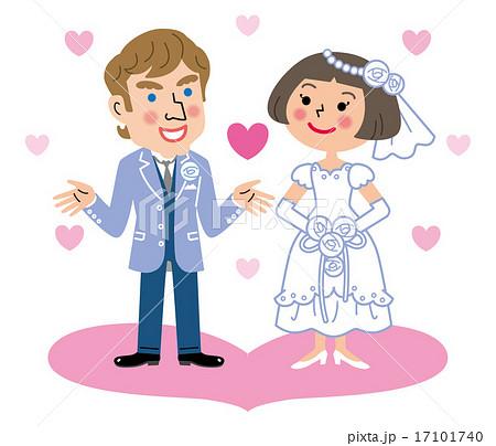 国際結婚 新郎新婦 ハート イラストのイラスト素材 17101740 Pixta
