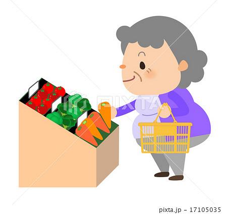 おばあちゃんスーパーでお買い物のイラスト素材 17105035 Pixta