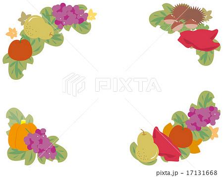 実りの秋のフルーツ角囲み4種のイラスト素材 17131668 Pixta