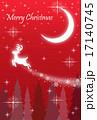 クリスマスカード トナカイが飛ぶ夜(赤) 17140745