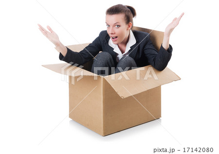 Woman businesswoman with boxes on whiteの写真素材 [17142080] - PIXTA