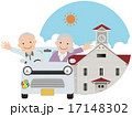 老夫婦 ドライブ 手を振るのイラスト 17148302
