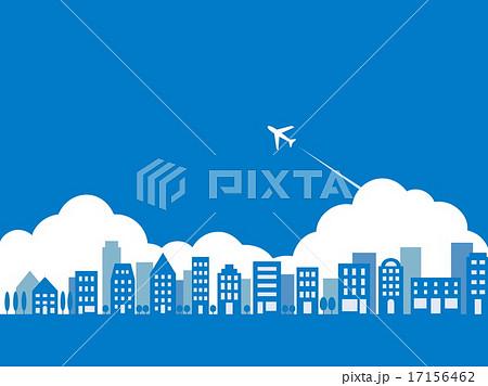 街並み 飛行機 雲のイラスト素材 17156462 Pixta