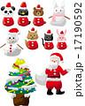 クリスマスツリーと動物サンタ 17190592