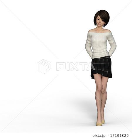 後ろに手を組んで歩く若い女性 perming3DCGイラスト素材のイラスト素材 ...