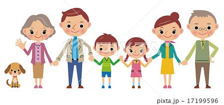 手をつなぐ仲良し3世代家族 17199596