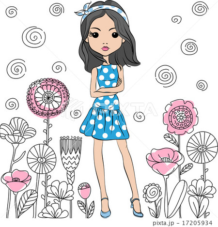 Vector fashion cute happy girl 17205934