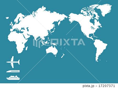 飛行機 新幹線 船 世界地図日本中心のイラスト素材 17207371 Pixta