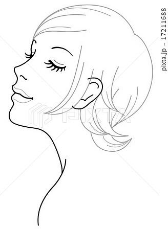 女性 顔 斜め イラストのイラスト素材 17211688 Pixta