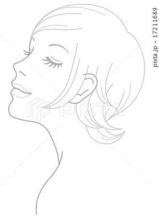 女性 顔 斜め イラストのイラスト素材 17211689 Pixta