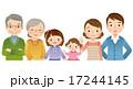 三世代家族 横並び 仲良しのイラスト 17244145