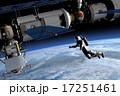 宇宙遊泳と国際宇宙ステーション perming 3DCGイラスト素材 17251461