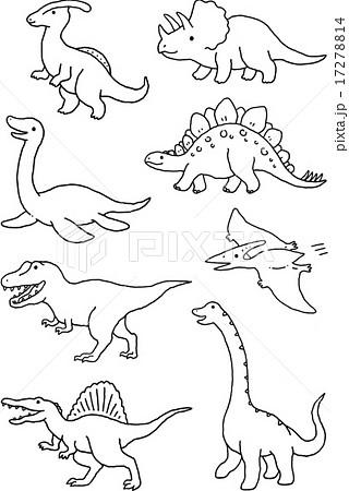 恐竜セット モノクロのイラスト素材 17278814 Pixta
