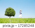 一本木のある原っぱに立つ女性 17285248