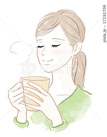 温かい飲み物でリラックスする女性 17292706