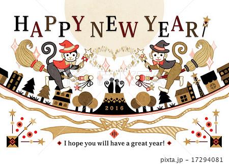 2016年申年完成年賀状テンプレート「魔法使い猿」HAPPYNEWYEAR金色 17294081