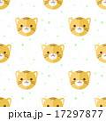 Vector flat cartoon tiger heads seamless pattern. Animal background. 17297877