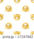 Vector flat cartoon tiger heads seamless pattern. Animal background. 17297882