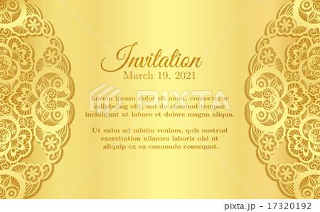 Vintage golden invitation with lace decoration